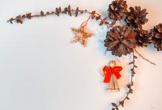 La Navidad adornada en el fondo blanco Imagen de archivo libre de regalías