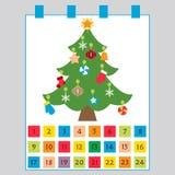 La Navidad Advent Calendar: árbol de navidad con las decoraciones: estrella Stock de ilustración