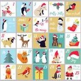 La Navidad Advent Calendar Cartel de las vacaciones de invierno con los animales lindos y los símbolos Fotos de archivo