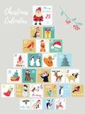 La Navidad Advent Calendar Cartel de las vacaciones de invierno con los animales lindos y los símbolos Fotografía de archivo libre de regalías