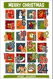 La Navidad Advent Calendar de la historieta con los iconos divertidos Fotografía de archivo libre de regalías