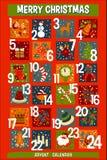La Navidad Advent Calendar de la historieta con los iconos divertidos Imágenes de archivo libres de regalías