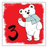 La Navidad Advent Calendar Elementos y números dibujados mano Imagen de archivo libre de regalías