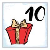 La Navidad Advent Calendar Elementos y números dibujados mano Stock de ilustración