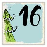 La Navidad Advent Calendar Elementos y números dibujados mano Fotografía de archivo