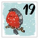 La Navidad Advent Calendar Elementos y números dibujados mano Foto de archivo