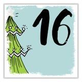 La Navidad Advent Calendar Elementos y números dibujados mano Diseño de tarjeta del calendario de las vacaciones de invierno, eje Fotos de archivo libres de regalías