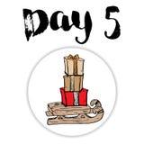 La Navidad Advent Calendar Elementos y números dibujados mano Diseño de tarjeta del calendario de las vacaciones de invierno, eje Imagen de archivo