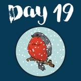 La Navidad Advent Calendar Elementos y números dibujados mano Diseño de tarjeta del calendario de las vacaciones de invierno, eje Fotografía de archivo