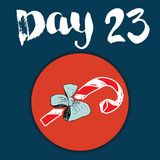 La Navidad Advent Calendar Elementos y números dibujados mano Diseño de tarjeta del calendario de las vacaciones de invierno, eje Foto de archivo