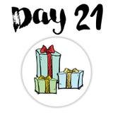 La Navidad Advent Calendar Elementos y números dibujados mano Diseño de tarjeta del calendario de las vacaciones de invierno, eje Imagenes de archivo