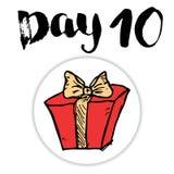 La Navidad Advent Calendar Elementos y números dibujados mano Diseño de tarjeta del calendario de las vacaciones de invierno, eje Imágenes de archivo libres de regalías