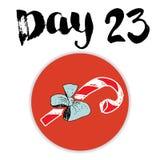 La Navidad Advent Calendar Elementos y números dibujados mano Diseño de tarjeta del calendario de las vacaciones de invierno, eje Fotografía de archivo libre de regalías