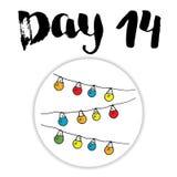 La Navidad Advent Calendar Elementos y números dibujados mano Diseño de tarjeta del calendario de las vacaciones de invierno, eje Foto de archivo libre de regalías