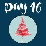 La Navidad Advent Calendar Elementos y números dibujados mano Diseño de tarjeta del calendario de las vacaciones de invierno, eje Imagen de archivo libre de regalías