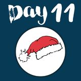 La Navidad Advent Calendar Elementos y números dibujados mano Diseño de tarjeta del calendario de las vacaciones de invierno, eje Fotos de archivo
