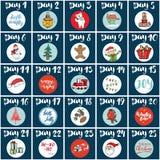 La Navidad Advent Calendar Elementos y números dibujados mano Tarjetas diseño determinado, ejemplo del calendario de las vacacion Imagenes de archivo