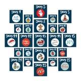 La Navidad Advent Calendar Elementos y números dibujados mano Tarjetas diseño determinado, ejemplo del calendario de las vacacion Imagen de archivo