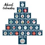 La Navidad Advent Calendar Elementos y números dibujados mano Tarjetas diseño determinado, ejemplo del calendario de las vacacion Fotografía de archivo libre de regalías