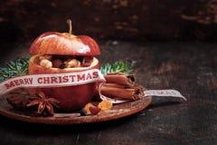 La Navidad Apple para el diseño de las tarjetas de felicitación del día de fiesta Imagen de archivo libre de regalías