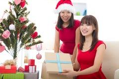 La Navidad asiática de los amigos Foto de archivo