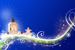 La Navidad azul abstracta - altamente detallada, ejemplo rico adornado foto de archivo