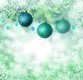 La Navidad azul adorna el fondo Fotografía de archivo libre de regalías