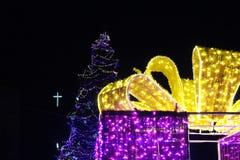 La Navidad Blagoevgrad con la decoración interesante como regalo de la pre-Navidad de Bulgaria fotografía de archivo libre de regalías