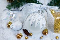 La Navidad blanca con nieve Fotos de archivo