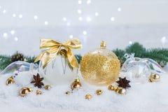 La Navidad blanca con nieve Fotografía de archivo