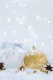La Navidad blanca con nieve Foto de archivo libre de regalías