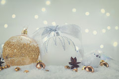 La Navidad blanca con nieve Imagen de archivo