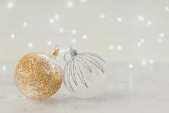La Navidad blanca con nieve Foto de archivo