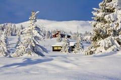 La Navidad blanca de la cabina Foto de archivo libre de regalías