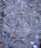 la Navidad blanca del invierno del bokeh de cristal del copo de nieve Foto de archivo