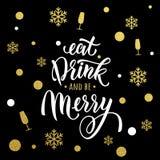 La Navidad, brillo del oro de la invitación del partido del Año Nuevo ilustración del vector