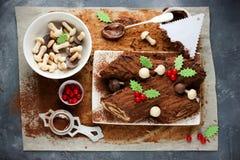 La Navidad Bush de Noel - cookin hecho en casa de la torta del registro de yule del chocolate Imagen de archivo libre de regalías
