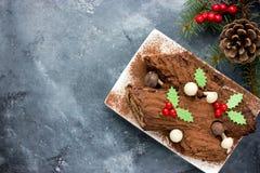 La Navidad Bush de Noel - torta hecha en casa del registro de yule del chocolate Foto de archivo