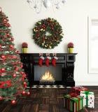 La Navidad cerca de la chimenea Imagen de archivo libre de regalías