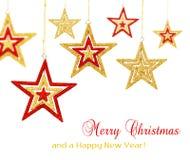 La Navidad colgante stars los ornamentos foto de archivo libre de regalías