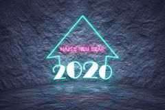 la Navidad 2020 como luces de neón en la pared de piedra con el dessign moderno Foto de archivo