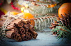 La Navidad, composición del Año Nuevo con los conos del árbol, del pino de abeto y el canela Decoración brillante del día de fies Fotos de archivo libres de regalías