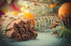 La Navidad, composición del Año Nuevo con los conos del árbol, del pino de abeto y el canela Decoración brillante del día de fies Foto de archivo libre de regalías
