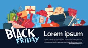 La Navidad de Black Friday y día de fiesta estacional de la bandera de la promoción de la Feliz Año Nuevo Fotos de archivo libres de regalías
