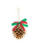 La Navidad de la cinta del witn de los conos del pino Fotografía de archivo libre de regalías