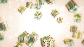 La Navidad de la cinta verde blanca del regalo Fotografía de archivo