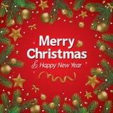 La Navidad de la decoración en fondo rojo Fotografía de archivo libre de regalías