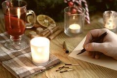 La Navidad de la escritura de la mano Fotografía de archivo