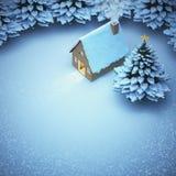 La Navidad de la nieve de la visión aérea la luz hacia fuera vuelve a casa la puerta y fotos de archivo libres de regalías