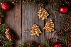 La Navidad de las galletas de los árboles de la piel del pan de jengibre Imagenes de archivo